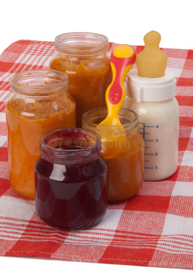 Babyvoeding in containers royalty-vrije stock foto's