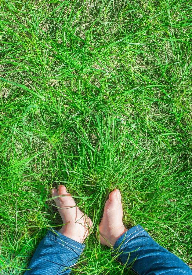 Babyvoeten blootvoets op groen gras royalty-vrije stock afbeelding