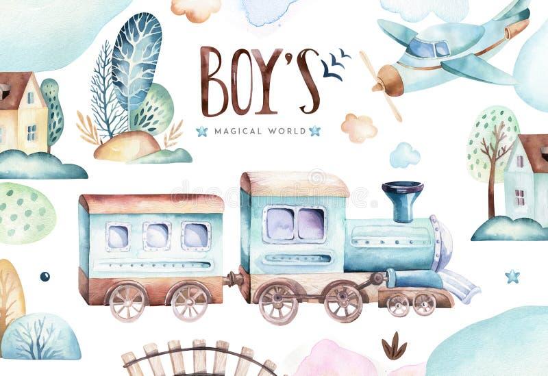 Babywelt Sich fortbewegende Aquarellillustration des Karikaturflugzeuges und -lastwagens Kindergeburtstagssatz Flugzeug und Luft lizenzfreie abbildung