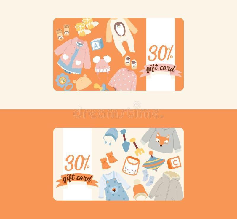 Babywinkel kleedt de vector het winkelen giftkaart van van het speelgoedspelen van beeldverhaaljonge geitjes het pasgeboren kind  stock illustratie