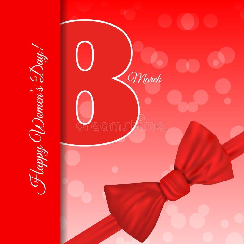 Bac дня ` s женщин красного шаблона поздравительной открытки 8-ое марта международный стоковое изображение rf
