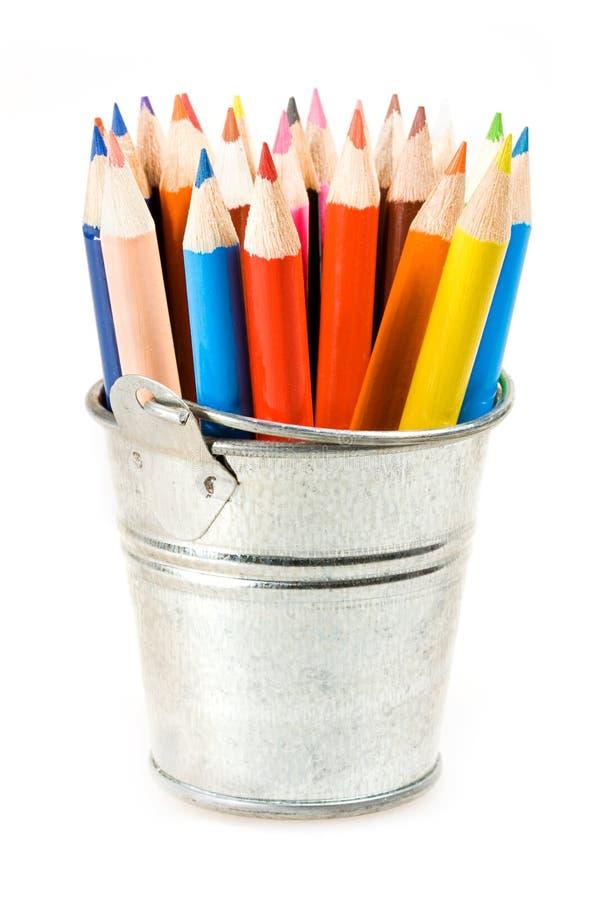 Bac argenté de crayons photos libres de droits