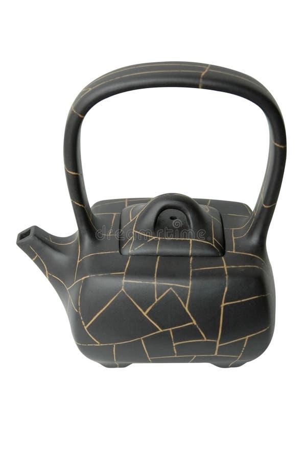Bac chinois de thé d'argile noir photographie stock