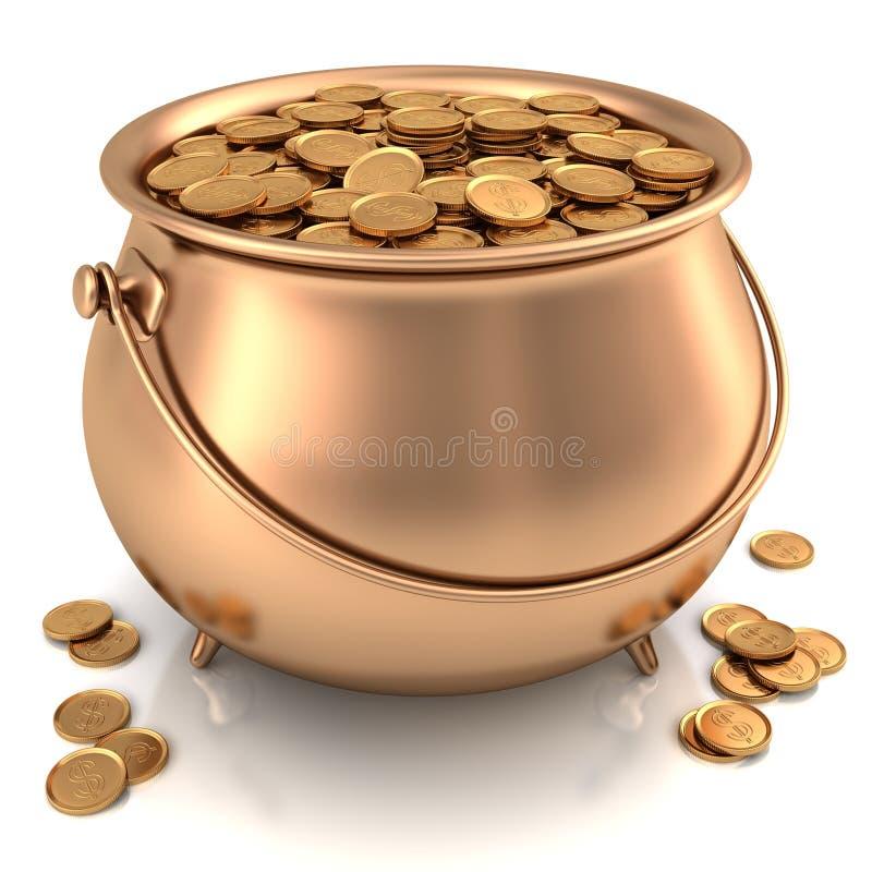 Bac d'or complètement de pièces d'or illustration de vecteur
