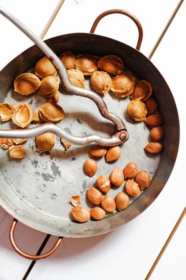 Bac de cuivre avec des graines d'abricot photo stock