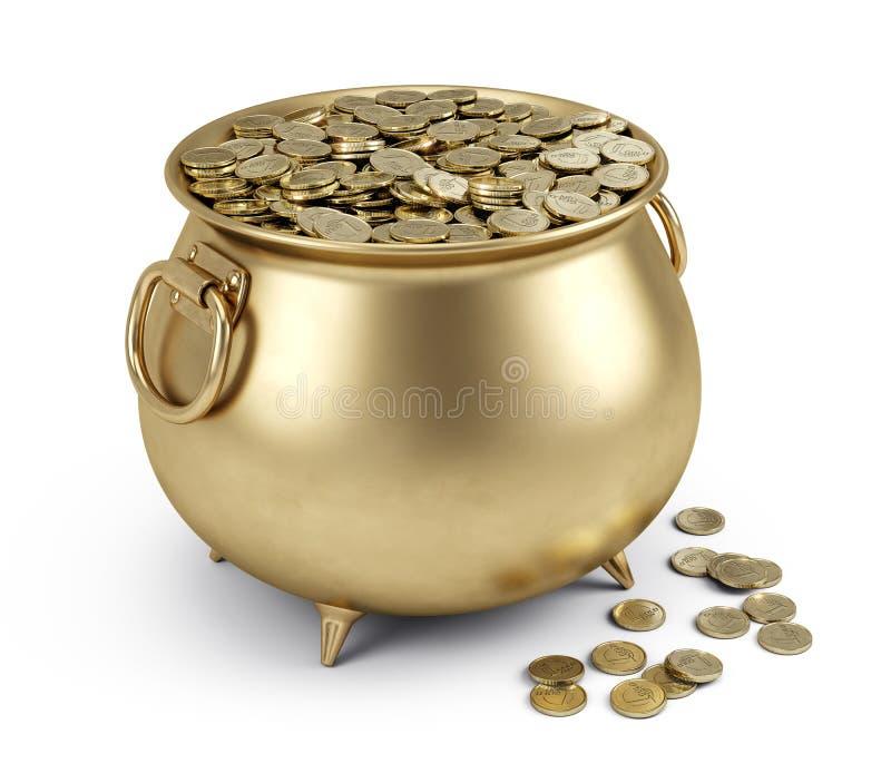 Bac de pièces d'or illustration de vecteur