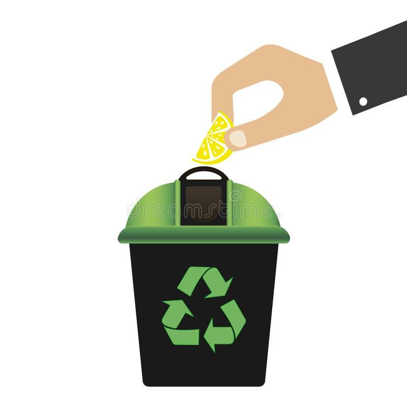Bac de recyclage avec le couvercle vert pour les déchets Réutilisation du symbole Protection de l'environnement Déchets zéro Fond illustration stock