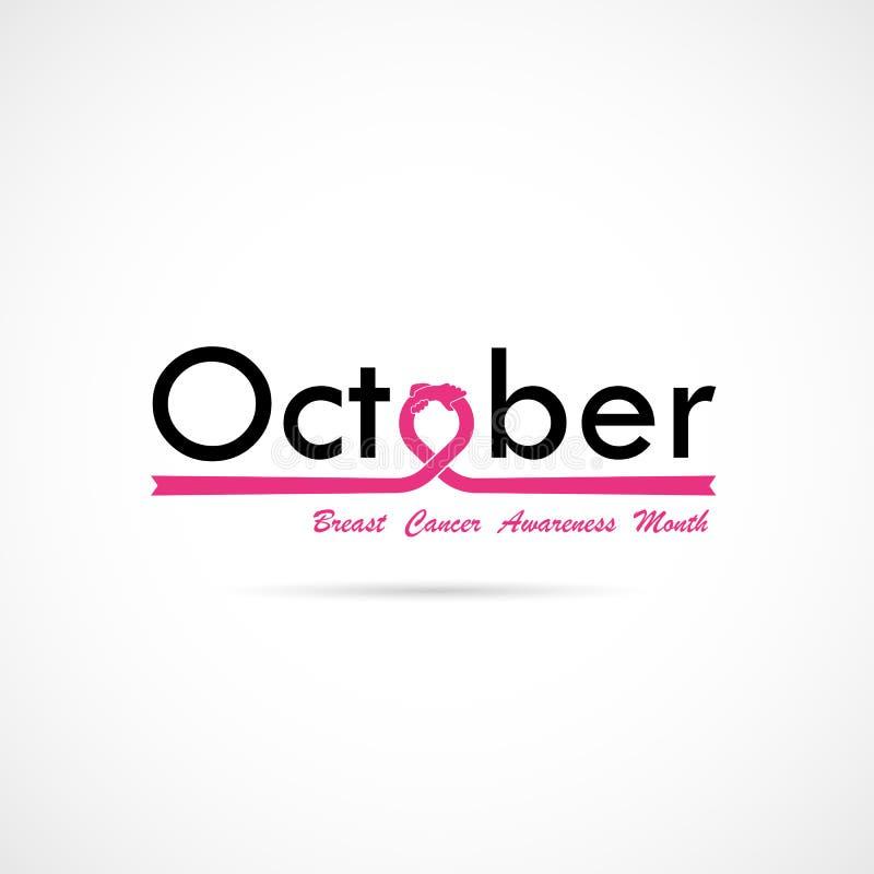 Bac för aktion för månad för bröstcancerOktober medvetenhet typografisk stock illustrationer