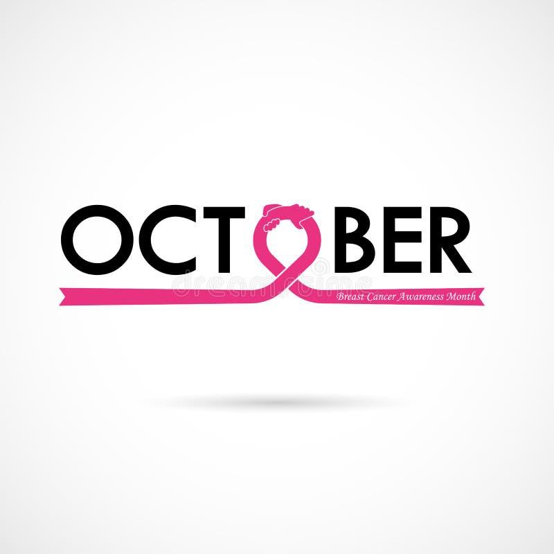 Bac för aktion för månad för bröstcancerOktober medvetenhet typografisk royaltyfri illustrationer