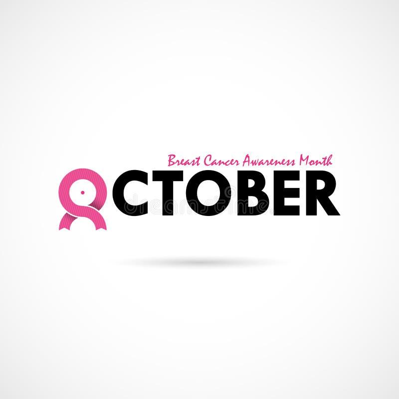 Bac för aktion för månad för bröstcancerOktober medvetenhet typografisk vektor illustrationer