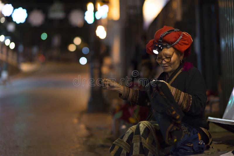 Bac Ha, Sapa, Vietnam - 08 17 2014: Ethnisches rotes Dao Woman bei Bac Ha Market Rote Gruppe Dao-ethnischer Minderheit von Sapa,  lizenzfreie stockfotografie