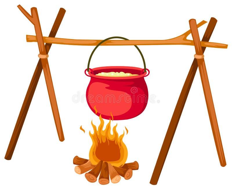 Bac sur l'incendie illustration de vecteur