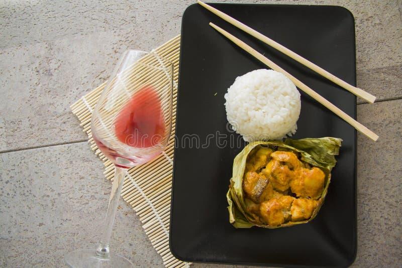 Bacalaos y arroz asados a la parrilla imagen de archivo libre de regalías