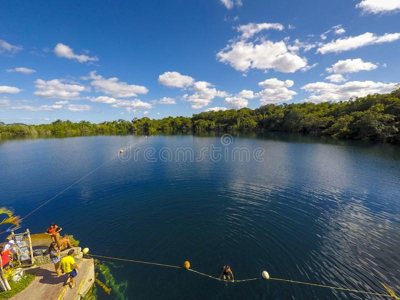 Bacalar Mexico Cenote Landscape. Sink, hole, puerto, morelos, underground, natural, wonders, sinkhole, snorkel, freshwater, tropical, river, quintana, jungle royalty free stock image