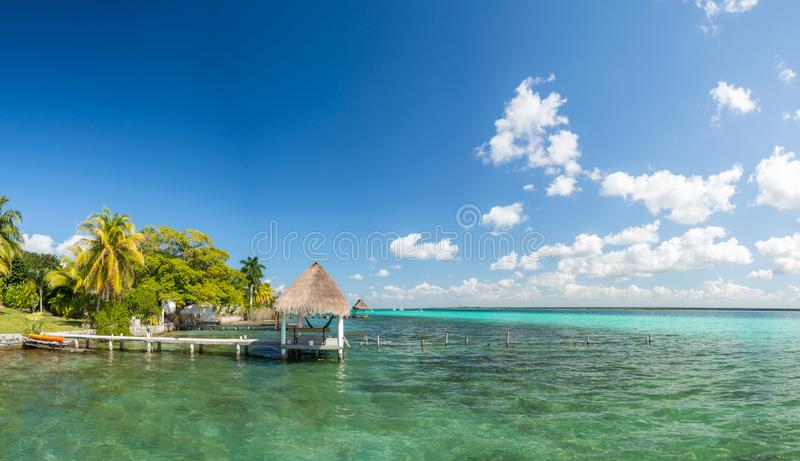 Bacalar, Mexico, South America: [Lake Bacalar, clear waters, lag. Oon with cenote, tourist destination, Caribbean sea, gulf stock images