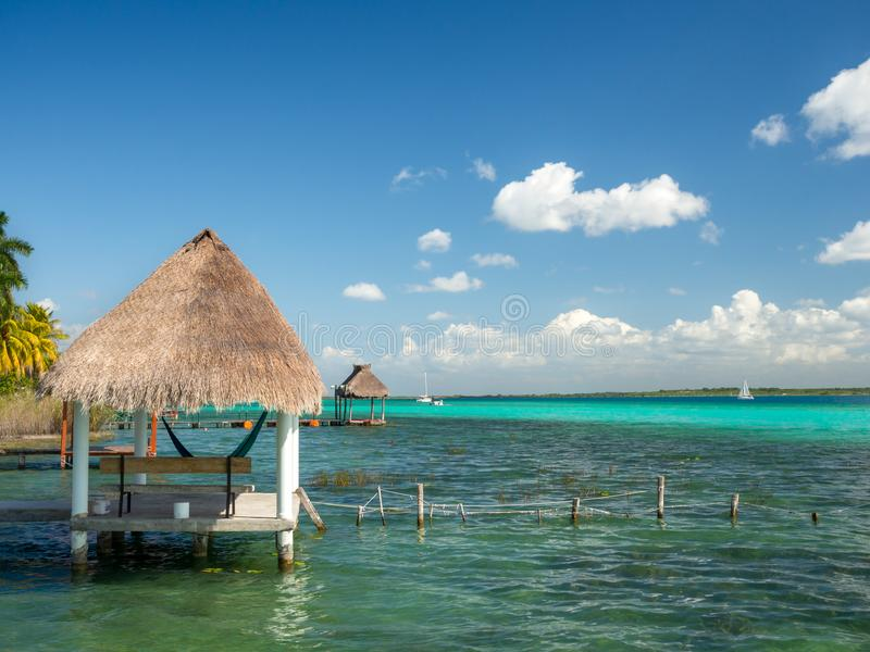Bacalar, Mexico, South America: [Lake Bacalar, clear waters, lag. Oon with cenote, tourist destination, Caribbean sea, gulf royalty free stock images