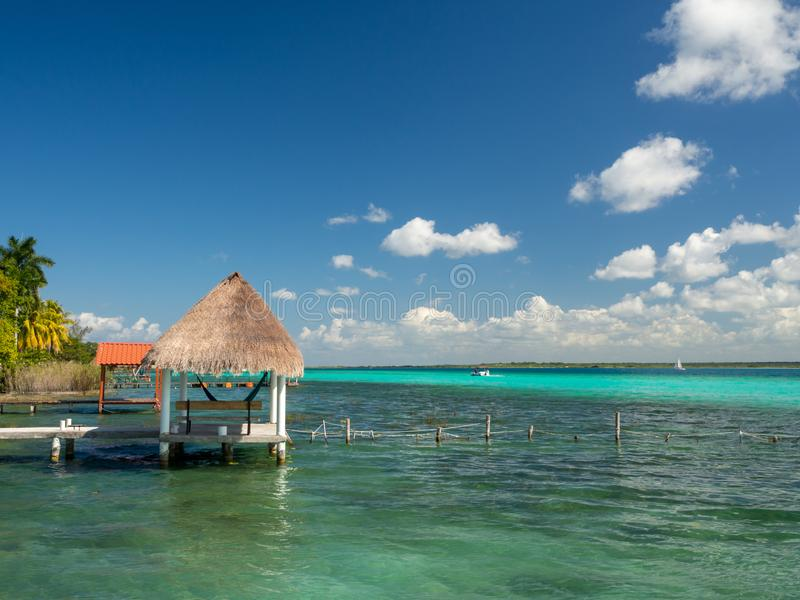 Bacalar, Mexico, South America: [Lake Bacalar, clear waters, lag. Oon with cenote, tourist destination, Caribbean sea, gulf stock photo