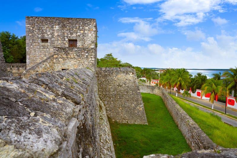 Bacalar San Felipe fort Quintana Roo Mexico arkivbilder