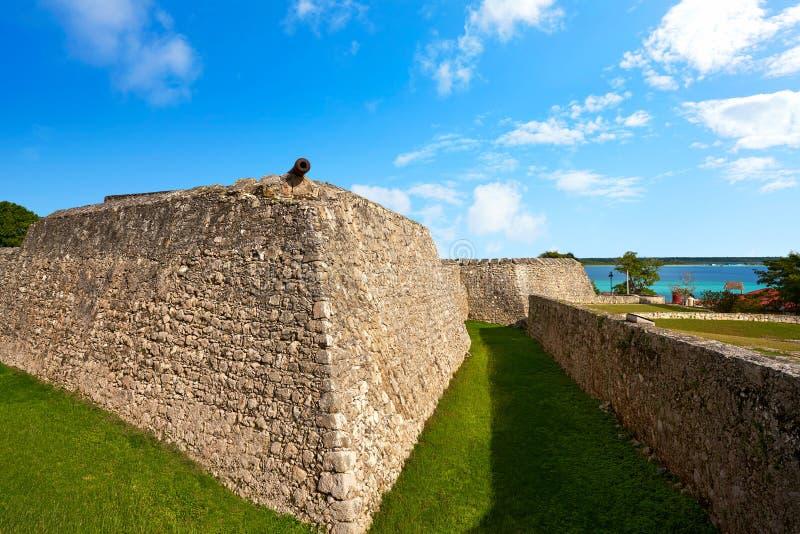 Bacalarsan Felipe fort Quintana Roo Mexico stock afbeeldingen