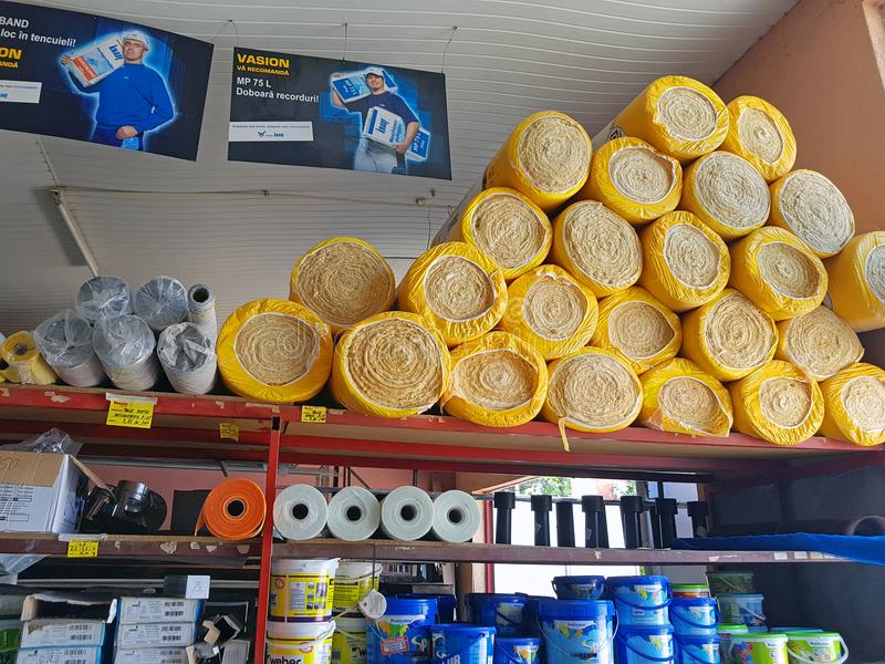 Insulation material roll in Warehouse. BACAU, ROMANIA - AUGUST 4, 2018: Insulation material roll in Warehouse for sale Vasion Store stock images