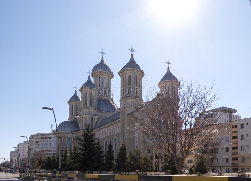 The orthodox church of the Holy Martyr Dimitrie on a sunny day, in Bacau, Romania. BACAU, Romania - March 23 2019: The orthodox church of the Holy Martyr stock images