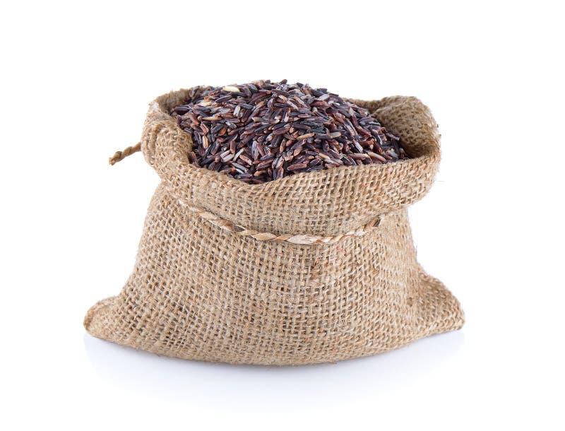 Bacca del riso in sacco immagine stock