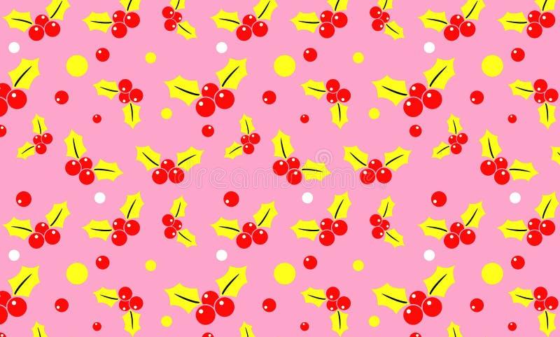 Bacca dell'agrifoglio su fondo rosa fotografie stock libere da diritti