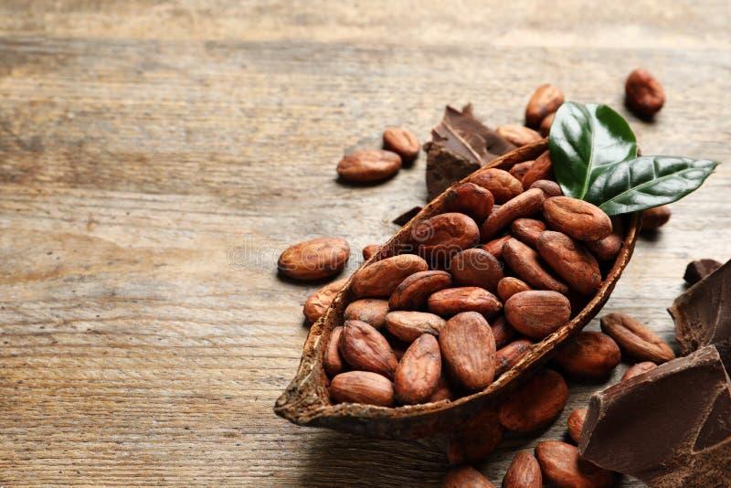 Baccello con le fave di cacao ed i pezzi del cioccolato sulla tavola di legno, spazio per fotografia stock libera da diritti