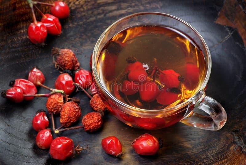 Bacche di rosa del cane Tè di rosa del cane una tazza del tè curativo del cinorrodo su una tavola di legno Tè della vitamina rime immagine stock libera da diritti