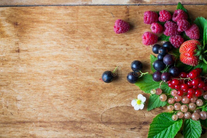Bacche fresche sulla tavola di legno del fondo fotografia stock libera da diritti