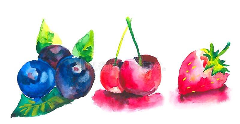 Bacche mature sulla tavola Mirtilli blu, ciliege rosse e fragole mature illustrazione vettoriale