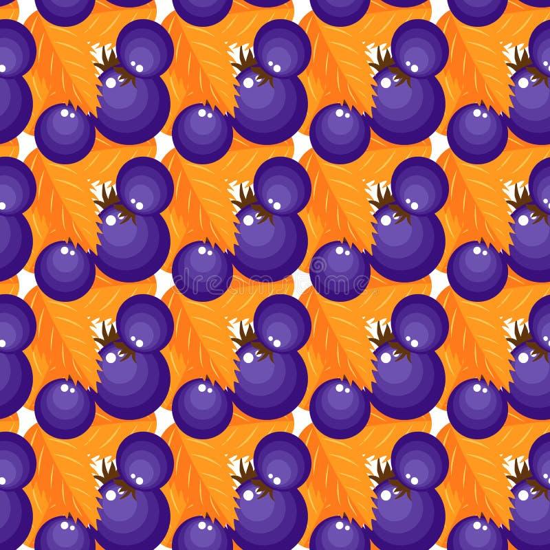 Bacche porpora del modello di vettore con fogliame arancio illustrazione vettoriale