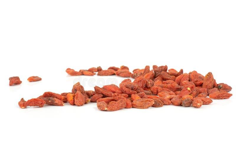 Bacche rosse secche di goji isolate su bianco fotografia stock libera da diritti