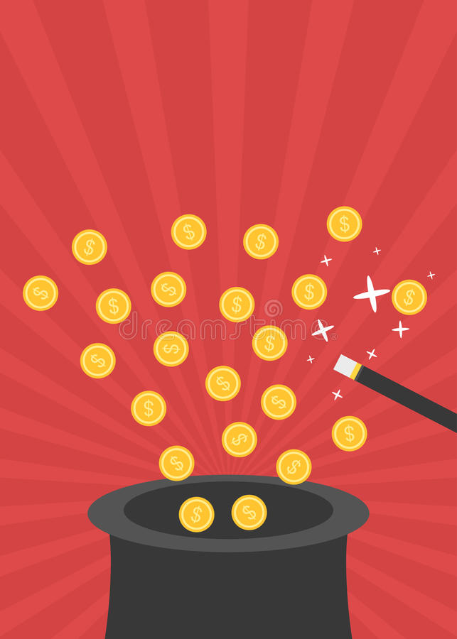 Bacchetta magica con uscire dorato delle monete black hat illustrazione di stock