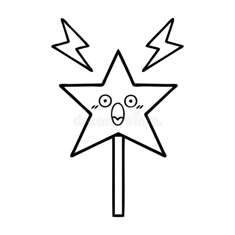 bacchetta magica del fumetto del disegno a tratteggio royalty illustrazione gratis