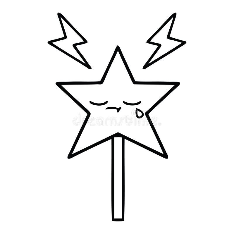 bacchetta magica del fumetto del disegno a tratteggio illustrazione di stock