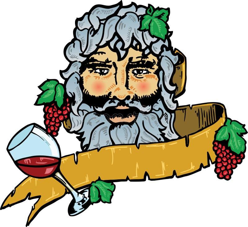 Bacchus of Dionysus de god van wijn stock illustratie