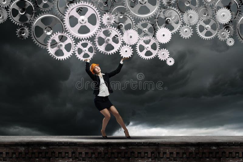 bacground απομονωμένη μηχανικός λευκή γυναίκα στοκ εικόνες
