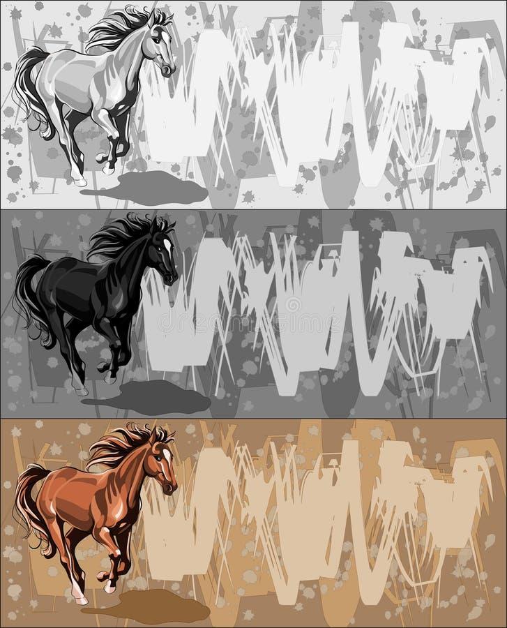 Download Bacground τρέξιμο αλόγων εμβλημάτω& Διανυσματική απεικόνιση - εικονογραφία από μονοχρωματικός, ταχύτητα: 17057539