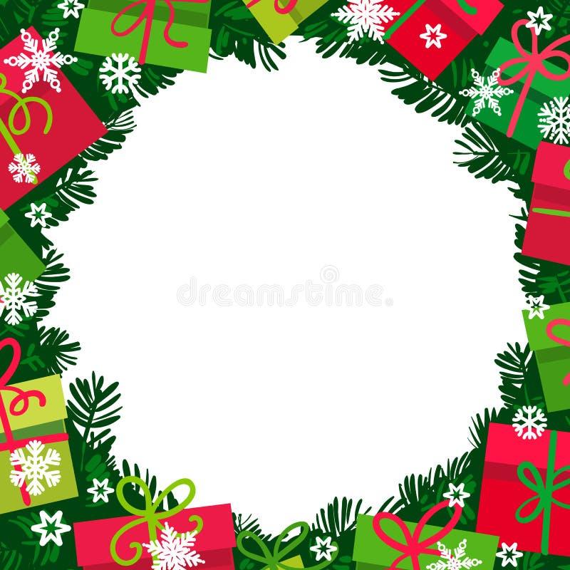 Bacground de Noël avec des branches, des boîte-cadeau et des flocons de neige de sapin Cadre rond des présents colorés avec l'esp illustration libre de droits