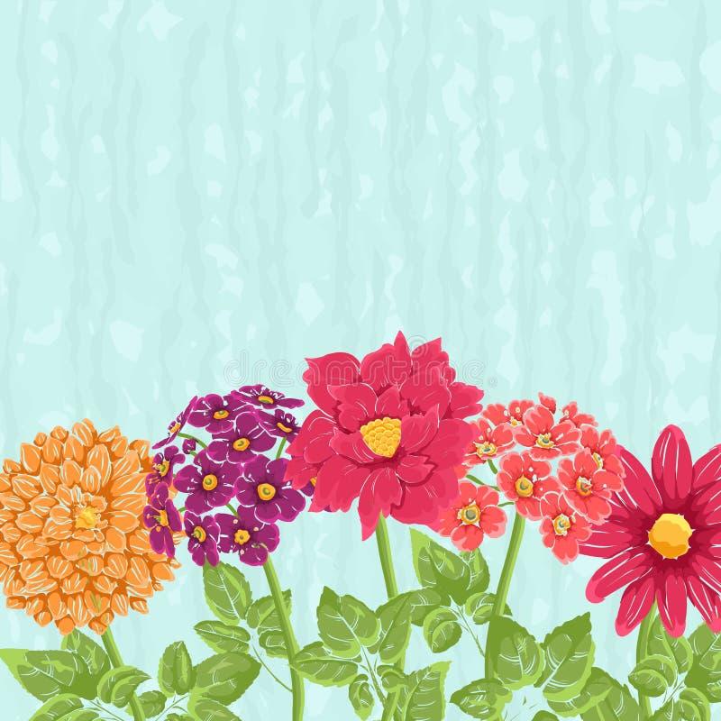Bacground floreale con i fiori disegnati a mano royalty illustrazione gratis