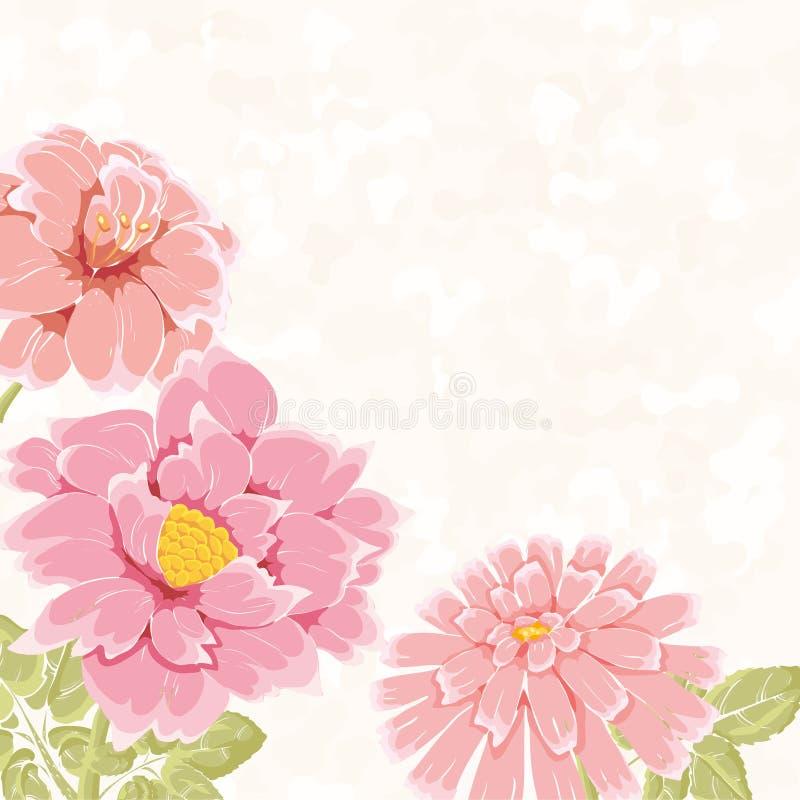 Bacground floreale con i fiori disegnati a mano dentellare illustrazione vettoriale