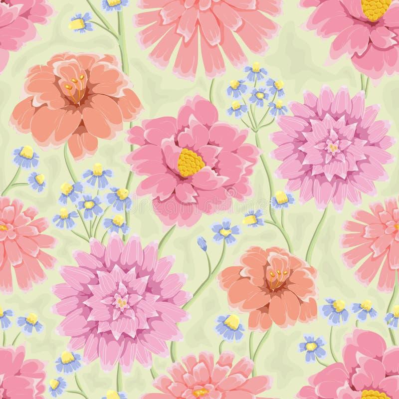 Bacground floreale con i fiori disegnati a mano dentellare illustrazione di stock