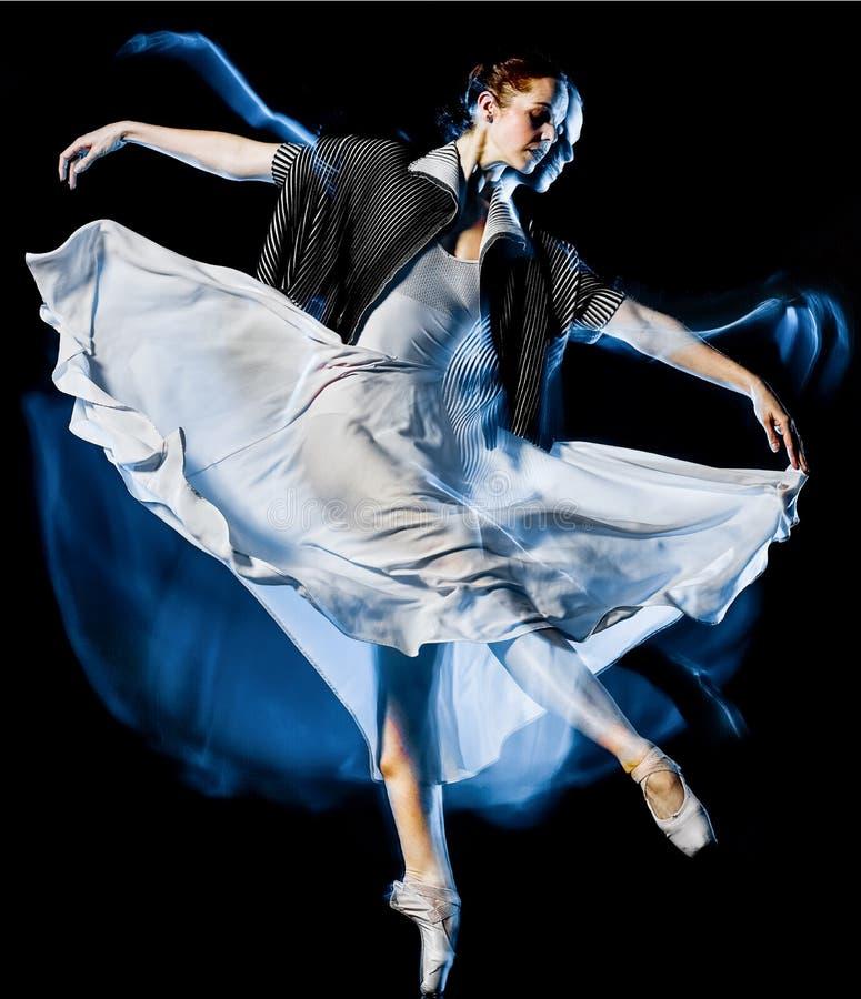 Bacground preto isolado mulher da dança do dançarino de bailado de Odern imagens de stock