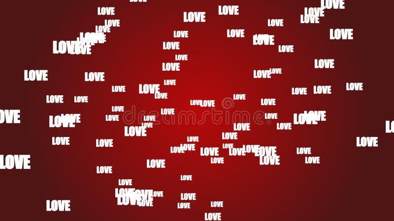 Bacground rojo del concepto de día de San Valentín con las letras de amor blancas flotantes stock de ilustración