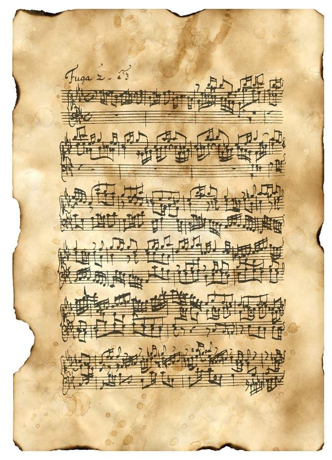 Bach, beginning Fuga C-Moll stock images