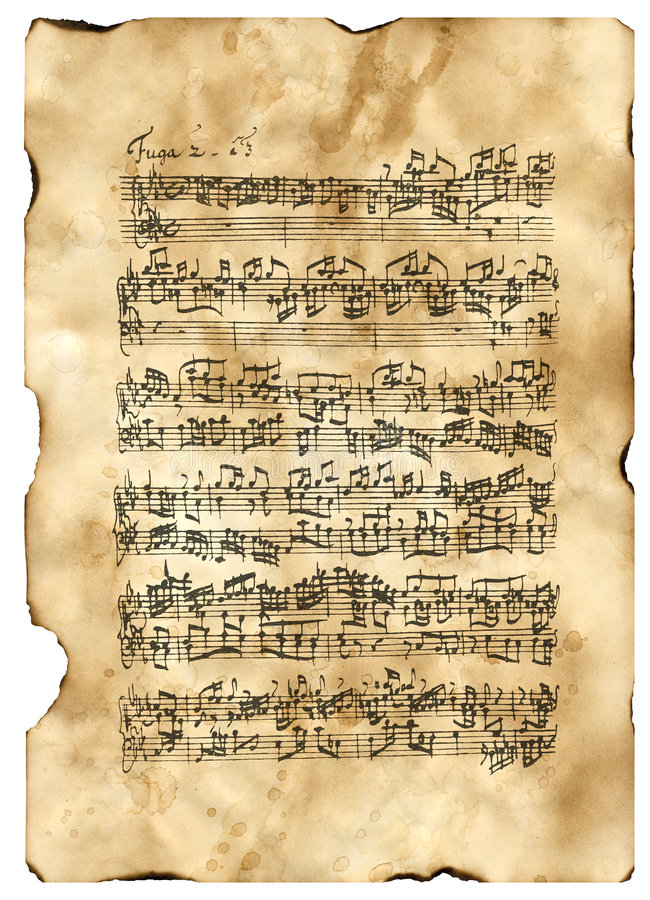 Bach, C-Moll commençant de Fuga images stock