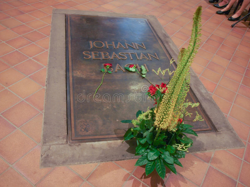 Bach grave. LEIPZIG, GERMANY - JUNE 12, 2014: Johann Sebastian Bach grave in the Thomaskirche St Thomas church where he was choir director from 1723 until his royalty free stock photography