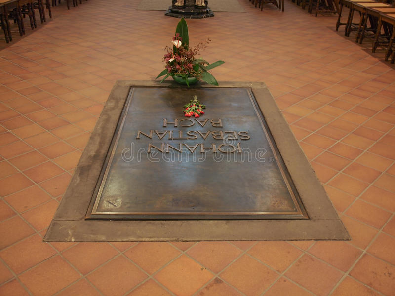 Bach grave. LEIPZIG, GERMANY - JUNE 12, 2014: Johann Sebastian Bach grave in the Thomaskirche St Thomas church where he was choir director from 1723 until his stock photos