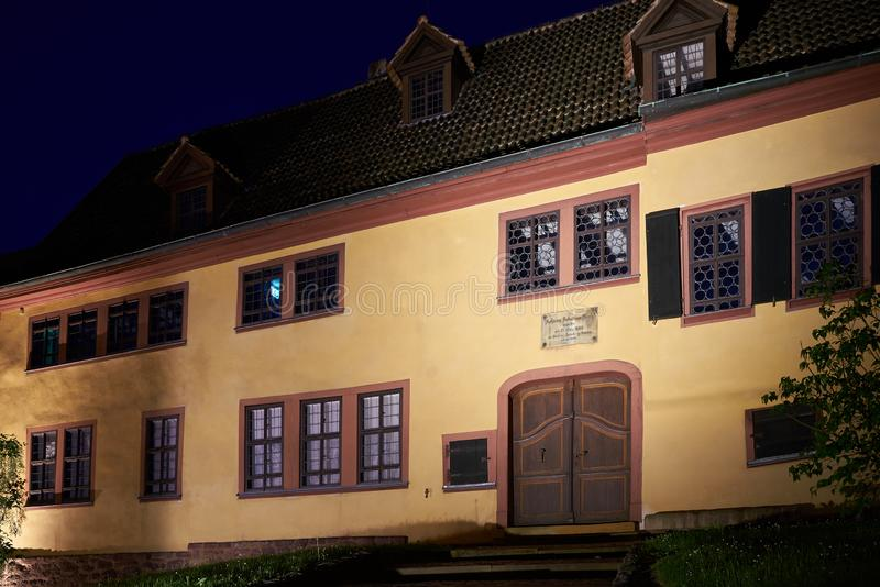 Bach House in the old town of Eisenach at night royalty free stock image